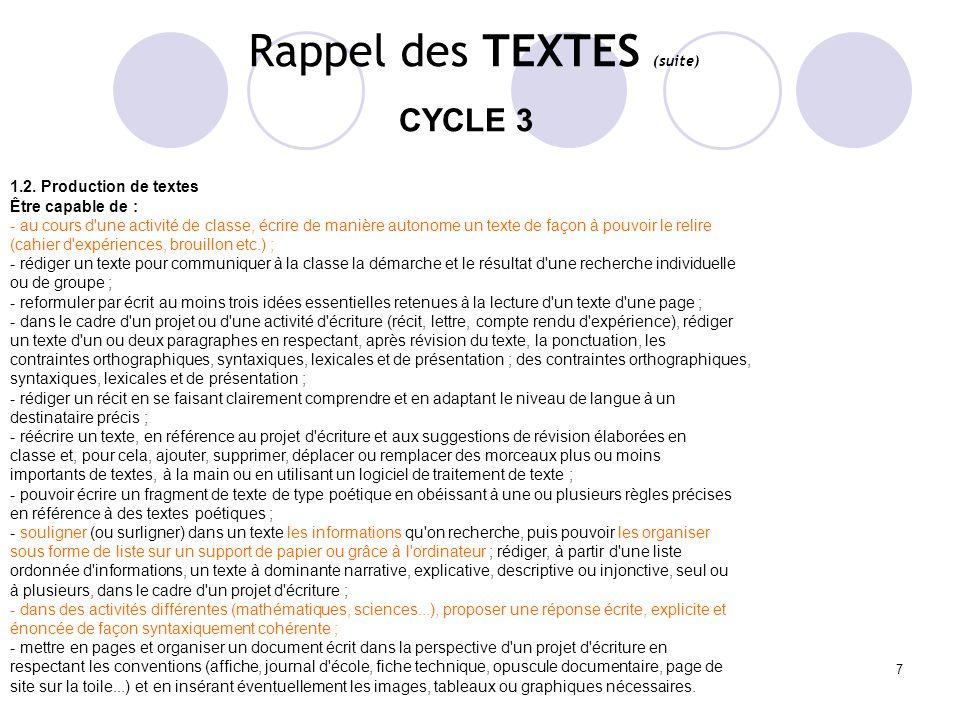 7 Rappel des TEXTES (suite) CYCLE 3 1.2. Production de textes Être capable de : - au cours d'une activité de classe, écrire de manière autonome un tex