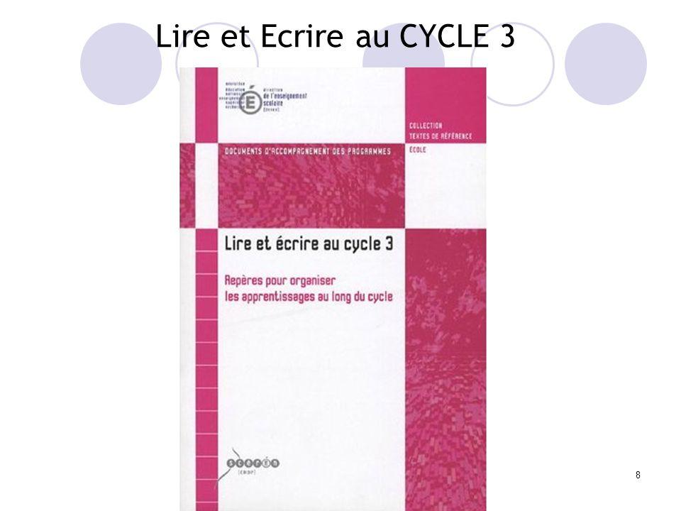 8 Lire et Ecrire au CYCLE 3