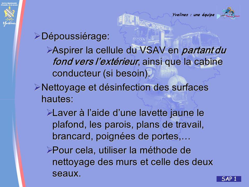 Service départemental d incendie et de secours Yvelines : une équipe SAP 1 Dépoussiérage: Dépoussiérage: Aspirer la cellule du VSAV en partant du fond vers lextérieur, ainsi que la cabine conducteur (si besoin).