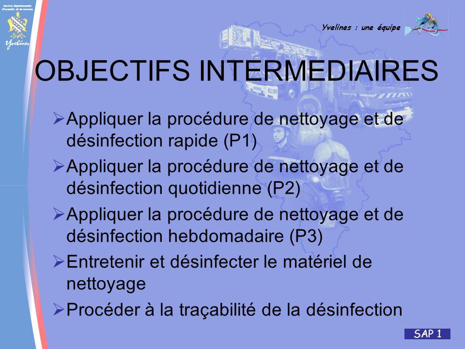 Service départemental d incendie et de secours Yvelines : une équipe SAP 1 Appliquer la procédure de nettoyage et de désinfection rapide (P1) Appliquer la procédure de nettoyage et de désinfection quotidienne (P2) Appliquer la procédure de nettoyage et de désinfection hebdomadaire (P3) Entretenir et désinfecter le matériel de nettoyage Procéder à la traçabilité de la désinfection OBJECTIFS INTERMEDIAIRES