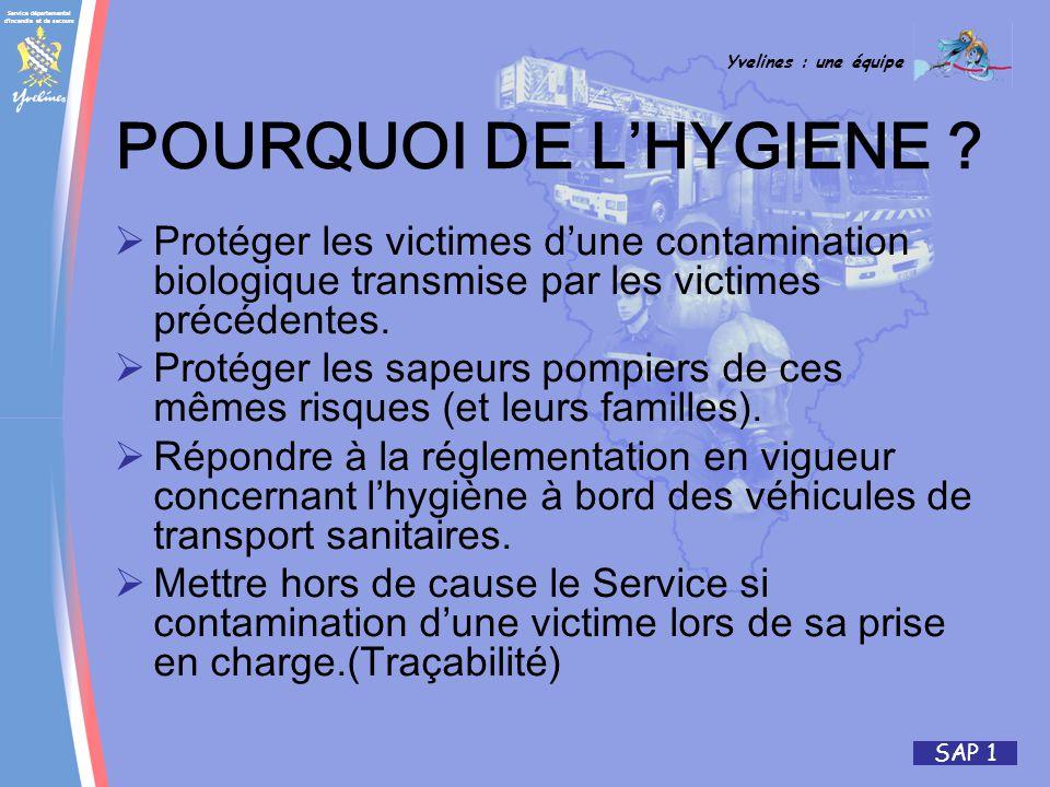 Service départemental d incendie et de secours Yvelines : une équipe SAP 1 POURQUOI DE LHYGIENE .