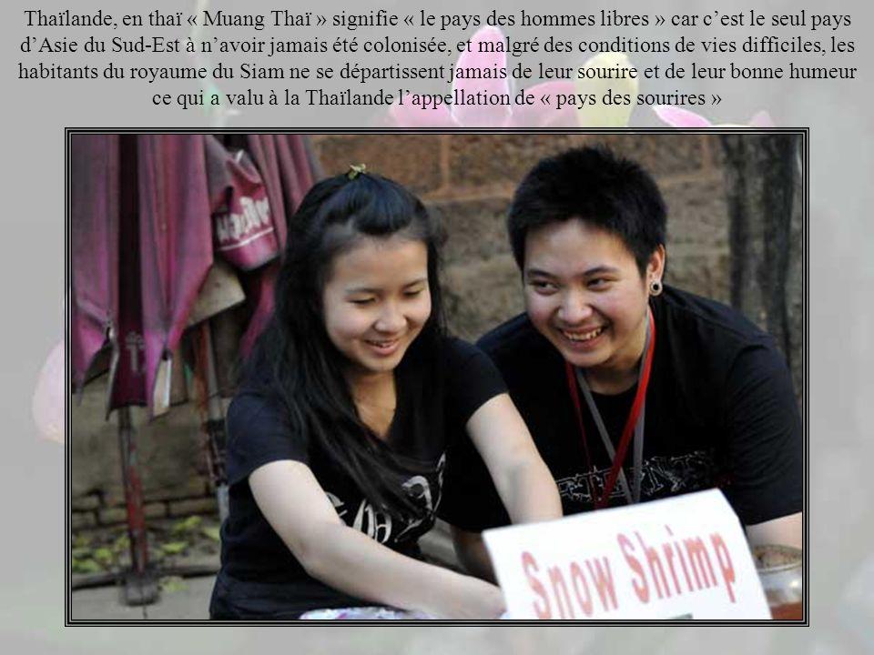 Lancien nom de la Thaïlande était le « Siam» qui signifie « le pays des hommes à la peau sombre », nom donné aux thaïs par les khmers.