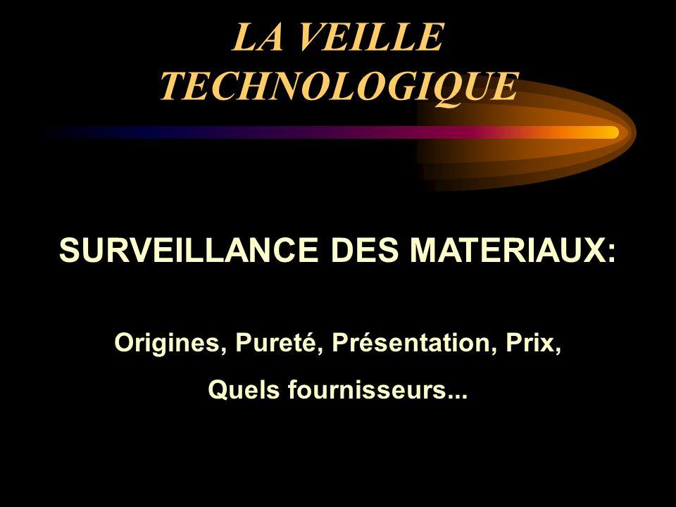 LA VEILLE TECHNOLOGIQUE SURVEILLANCE DES MATERIAUX: Origines, Pureté, Présentation, Prix, Quels fournisseurs...