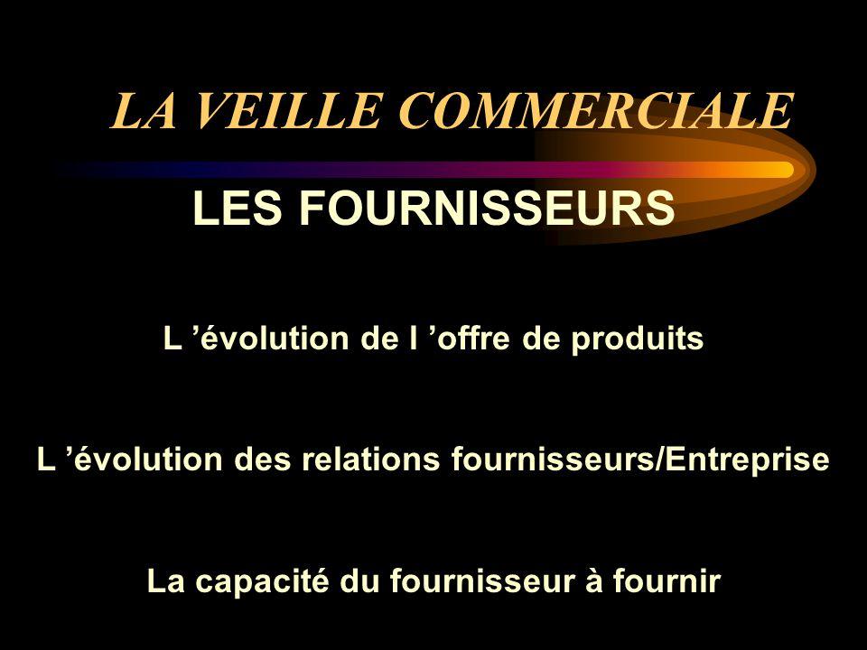 LA VEILLE COMMERCIALE LES FOURNISSEURS L évolution de l offre de produits L évolution des relations fournisseurs/Entreprise La capacité du fournisseur à fournir