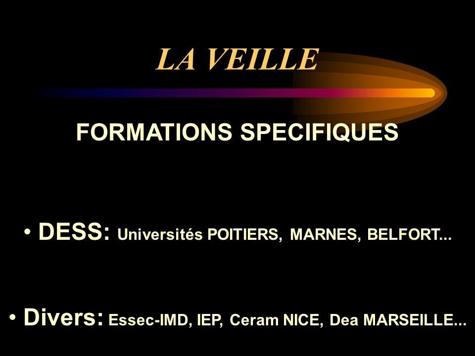 LA VEILLE FORMATIONS SPECIFIQUES DESS: Universités POITIERS, MARNES, BELFORT...