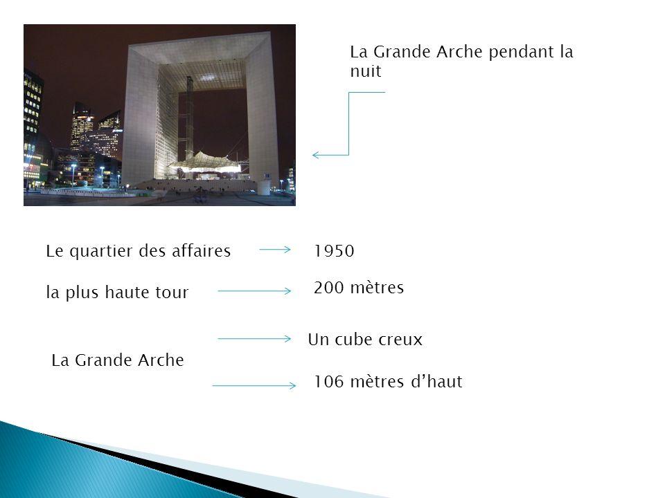 La Grande Arche pendant la nuit Le quartier des affaires1950 la plus haute tour 200 mètres La Grande Arche 106 mètres dhaut Un cube creux
