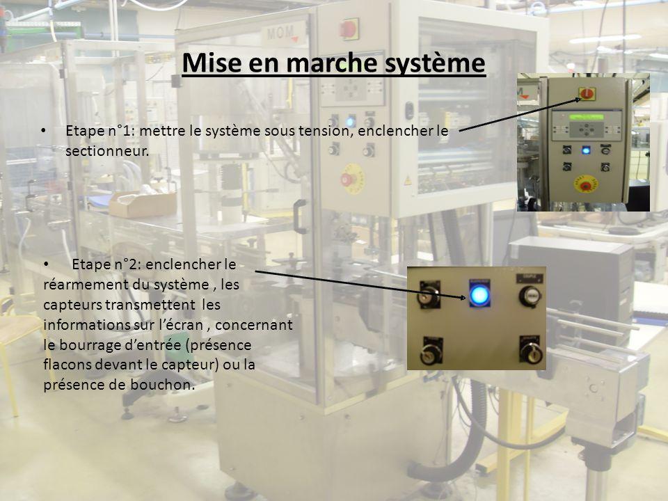 Mise en marche système Etape n°1: mettre le système sous tension, enclencher le sectionneur. Etape n°2: enclencher le réarmement du système, les capte