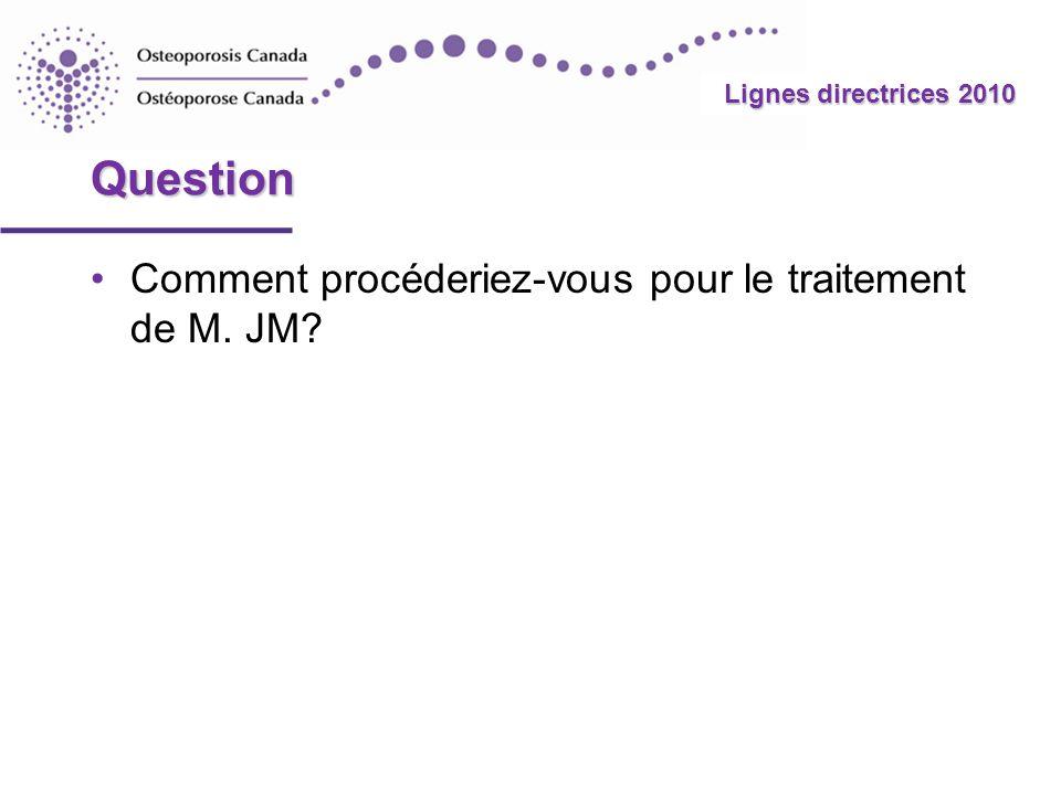 2010 Guidelines Lignes directrices 2010 Question Comment procéderiez-vous pour le traitement de M. JM?
