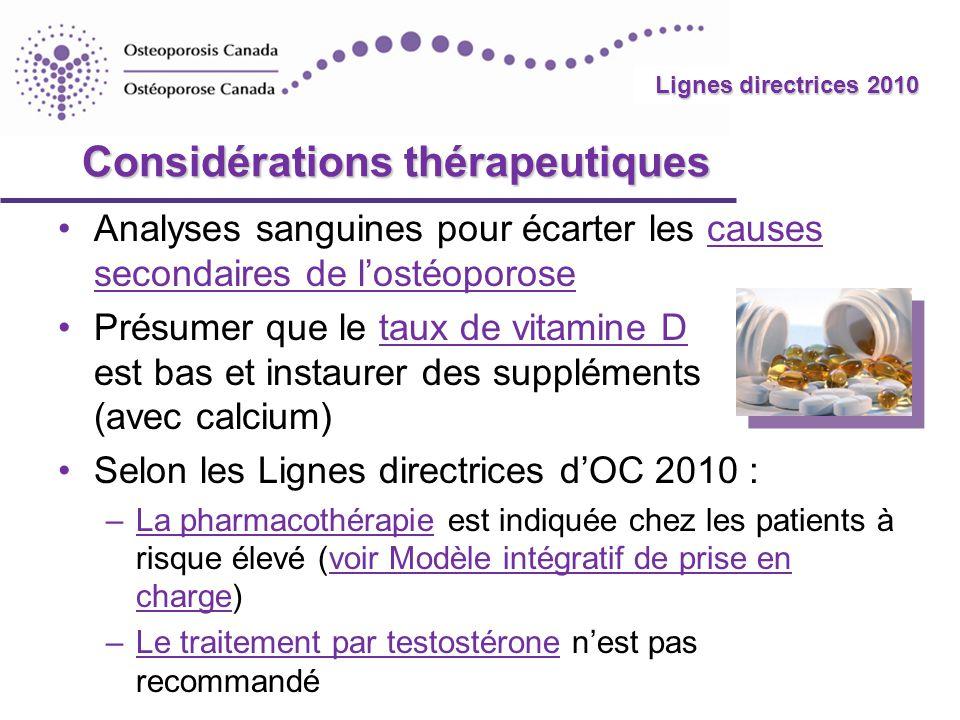 2010 Guidelines Lignes directrices 2010 Considérations thérapeutiques Analyses sanguines pour écarter les causes secondaires de lostéoporosecauses sec