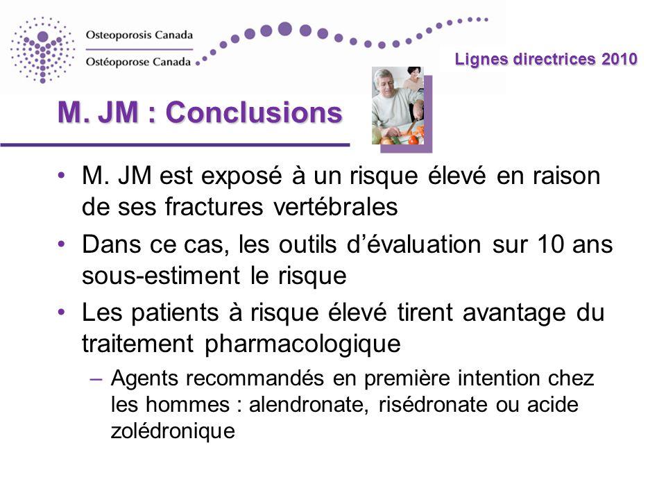 2010 Guidelines Lignes directrices 2010 M. JM : Conclusions M. JM est exposé à un risque élevé en raison de ses fractures vertébrales Dans ce cas, les