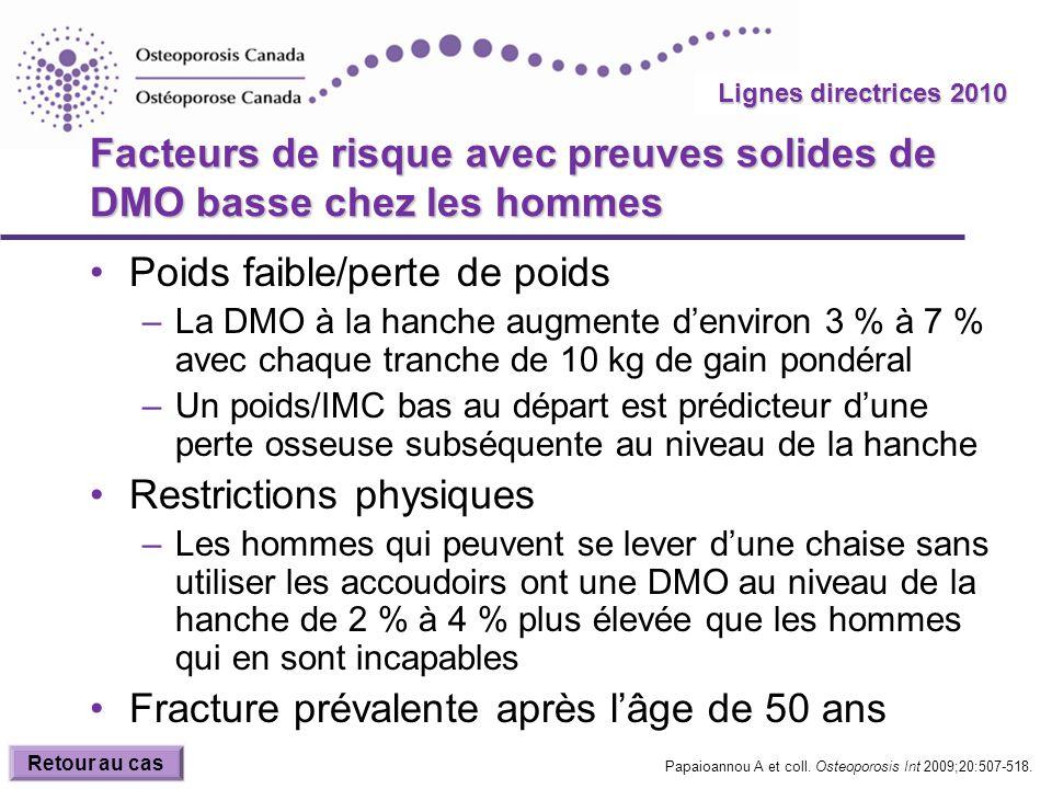 2010 Guidelines Lignes directrices 2010 Facteurs de risque avec preuves solides de DMO basse chez les hommes Poids faible/perte de poids –La DMO à la