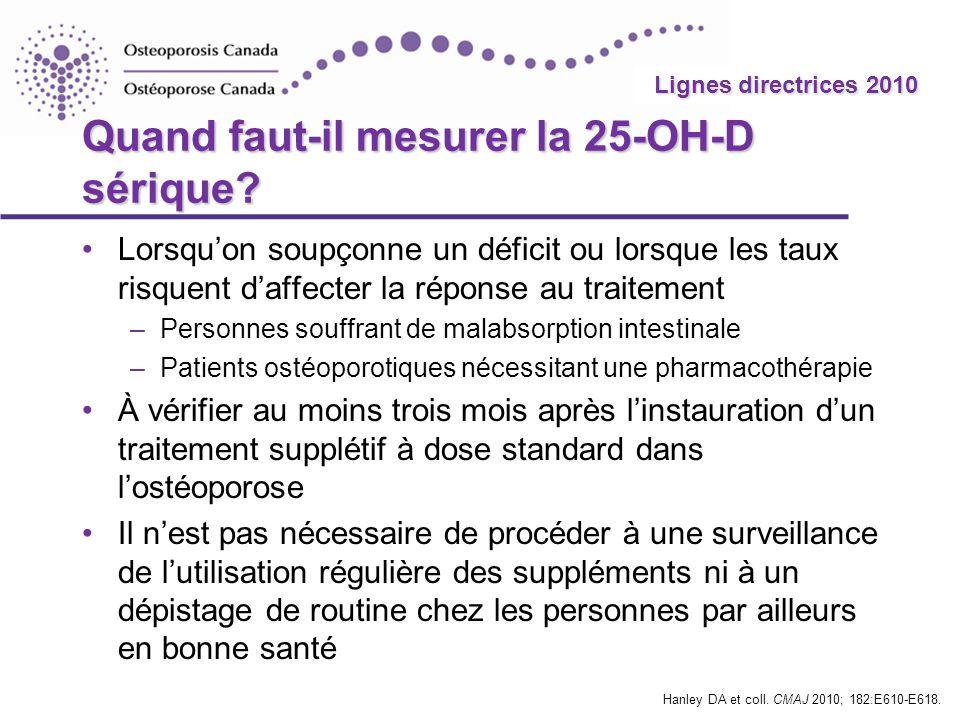 2010 Guidelines Lignes directrices 2010 Quand faut-il mesurer la 25-OH-D sérique? Lorsquon soupçonne un déficit ou lorsque les taux risquent daffecter