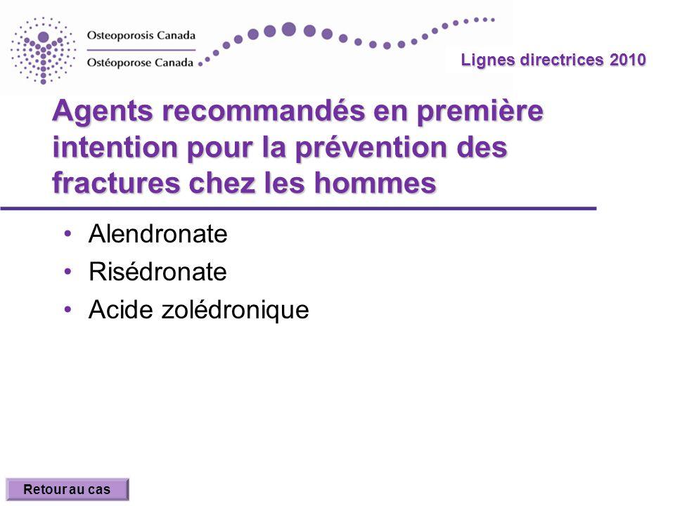 2010 Guidelines Lignes directrices 2010 Agents recommandés en première intention pour la prévention des fractures chez les hommes Alendronate Risédron