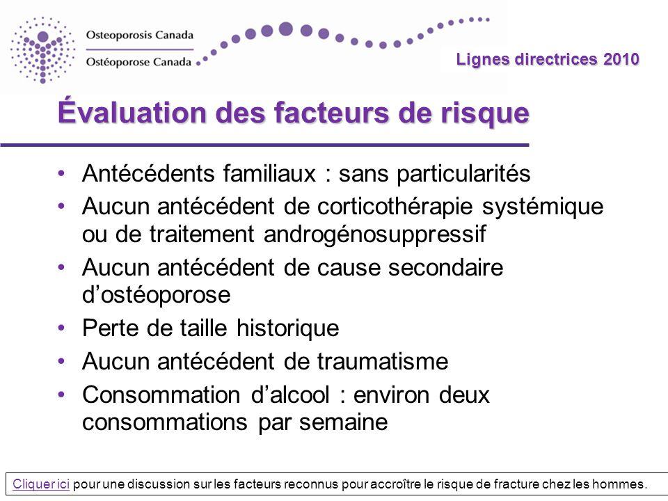 2010 Guidelines Lignes directrices 2010 Évaluation des facteurs de risque Antécédents familiaux : sans particularités Aucun antécédent de corticothéra