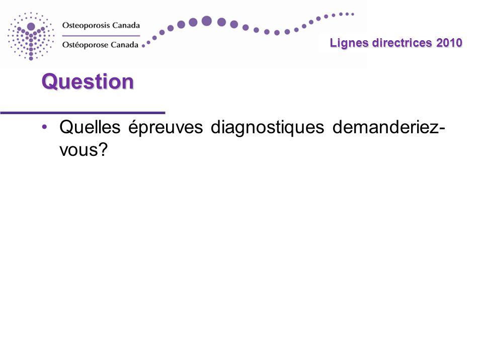 2010 Guidelines Lignes directrices 2010 Question Quelles épreuves diagnostiques demanderiez- vous?