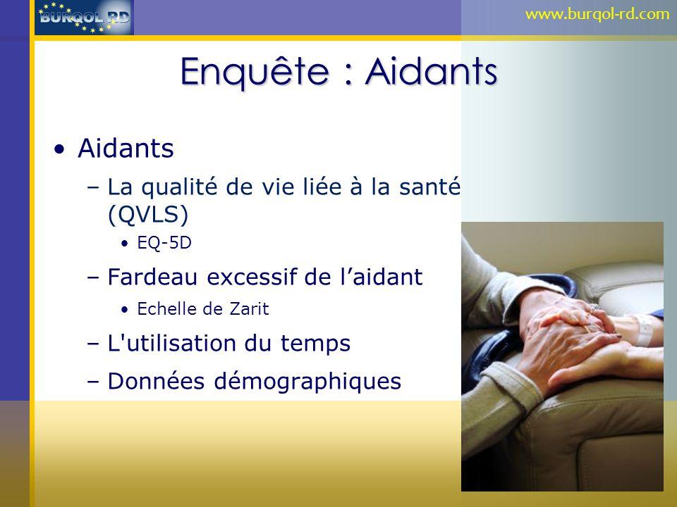 Enquête : Aidants Aidants –La qualité de vie liée à la santé (QVLS) EQ-5D –Fardeau excessif de laidant Echelle de Zarit –L'utilisation du temps –Donné