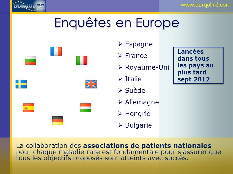 Enquêtes en Europe Espagne France Royaume-Uni Italie Suède Allemagne Hongrie Bulgarie La collaboration des associations de patients nationales pour ch