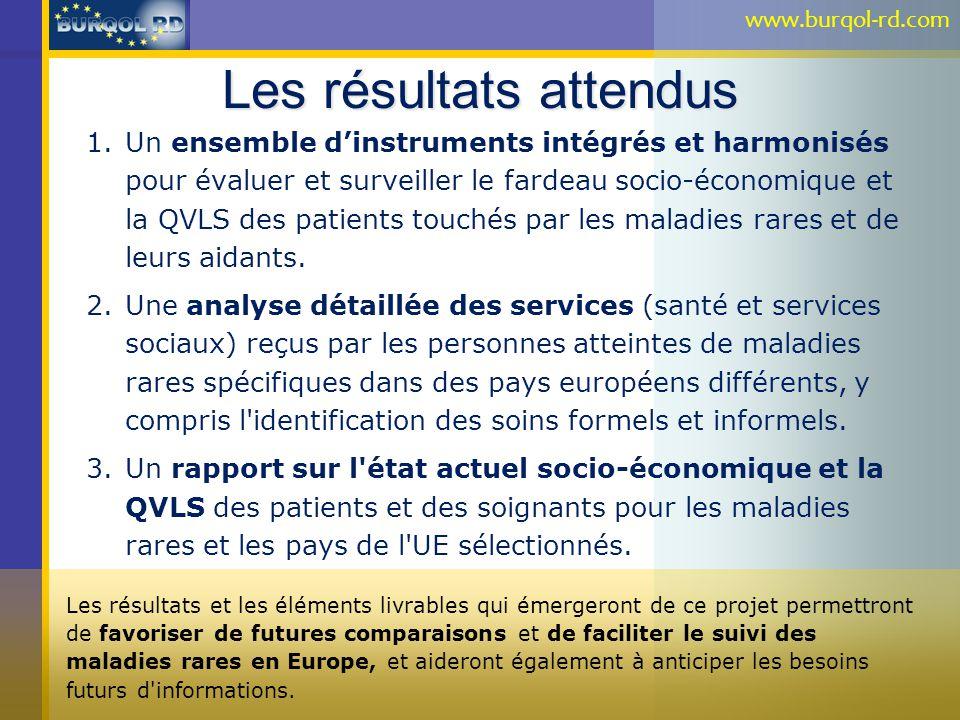 Les résultats attendus 1.Un ensemble dinstruments intégrés et harmonisés pour évaluer et surveiller le fardeau socio-économique et la QVLS des patient