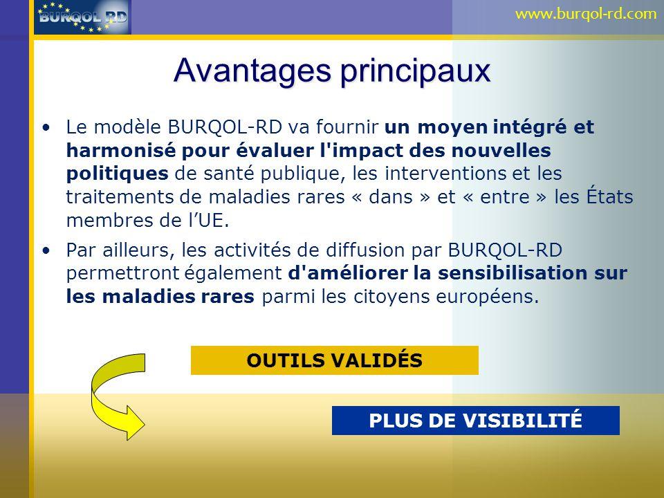Avantages principaux Le modèle BURQOL-RD va fournir un moyen intégré et harmonisé pour évaluer l'impact des nouvelles politiques de santé publique, le