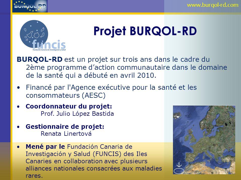 Projet BURQOL-RD BURQOL-RD est un projet sur trois ans dans le cadre du 2ème programme daction communautaire dans le domaine de la santé qui a débuté