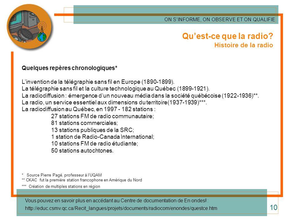 Quest-ce que la radio? Histoire de la radio Quelques repères chronologiques* Linvention de la télégraphie sans fil en Europe (1890-1899). La télégraph