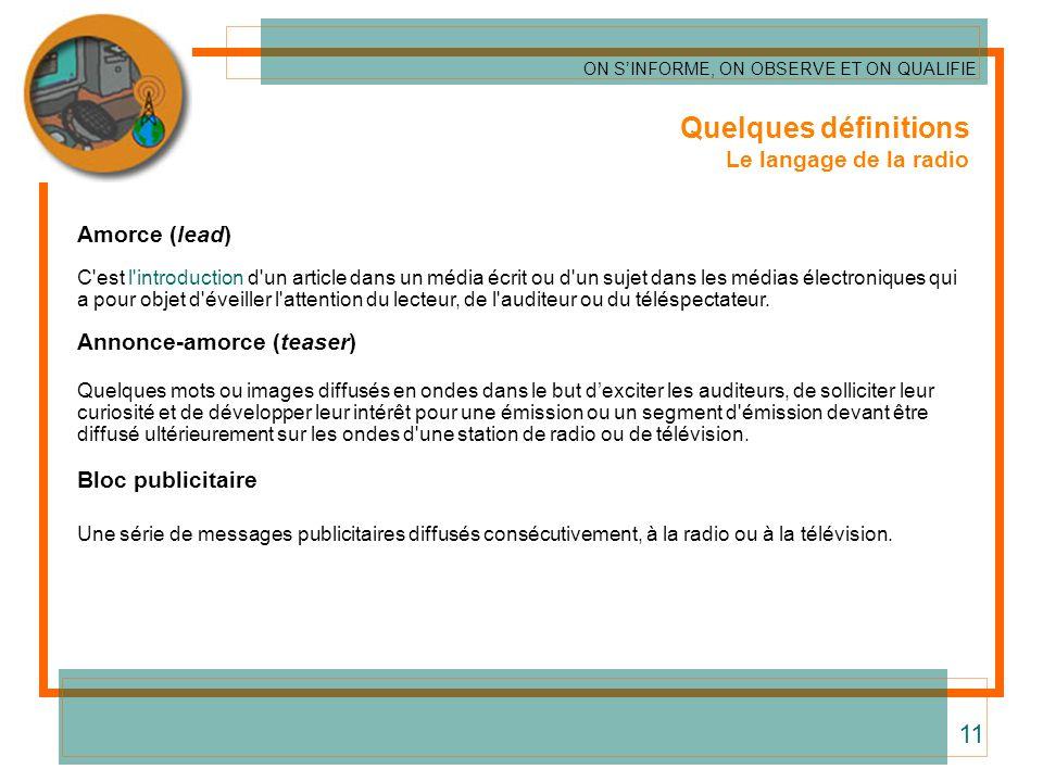 Quelques définitions Le langage de la radio Amorce (lead) C'est l'introduction d'un article dans un média écrit ou d'un sujet dans les médias électron