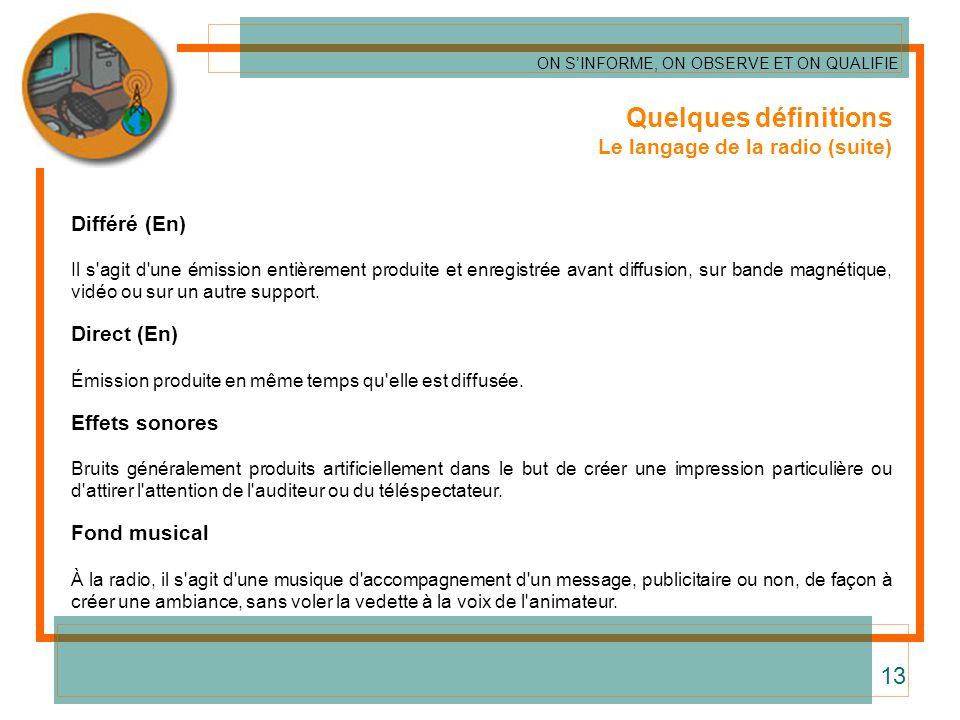 Quelques définitions Le langage de la radio (suite) Différé (En) Il s'agit d'une émission entièrement produite et enregistrée avant diffusion, sur ban