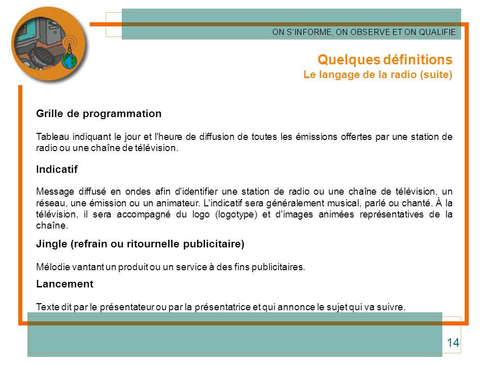 Quelques définitions Le langage de la radio (suite) Grille de programmation Tableau indiquant le jour et l'heure de diffusion de toutes les émissions