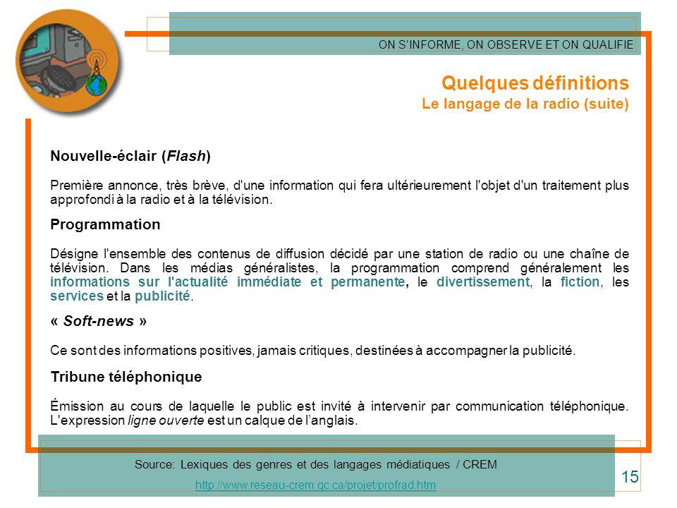 Quelques définitions Le langage de la radio (suite) Nouvelle-éclair (Flash) Première annonce, très brève, d'une information qui fera ultérieurement l'