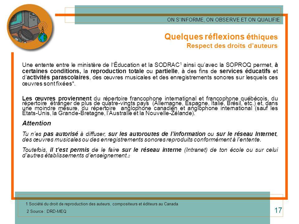 Quelques réflexions é thiques Respect des droits dauteurs Une entente entre le ministère de lÉducation et la SODRAC 1 ainsi quavec la SOPROQ permet, à