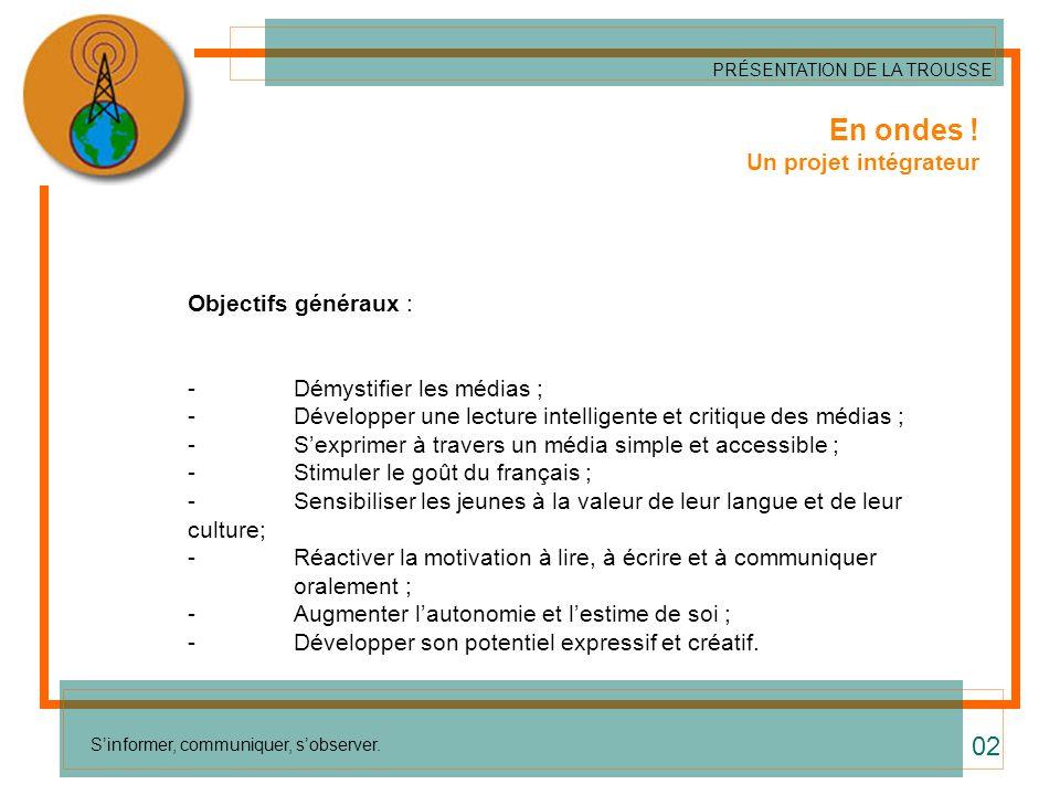 Liens avec le Programme de formation (suite) Les compétences disciplinaires* Français -Lire ; - Communiquer oralement ; -Écrire des textes variés : élaborer des textes radiophoniques (messages narratifs, informatifs, persuasifs).