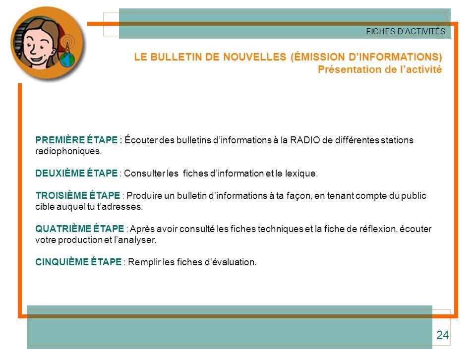 LE BULLETIN DE NOUVELLES (ÉMISSION DINFORMATIONS) Présentation de lactivité PREMIÈRE ÉTAPE : Écouter des bulletins dinformations à la RADIO de différe