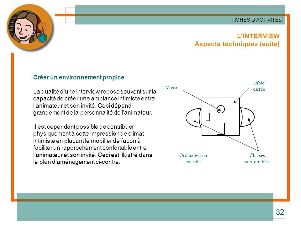LINTERVIEW Aspects techniques (suite) FICHES DACTIVITÉS 32 Créer un environnement propice La qualité dune interview repose souvent sur la capacité de