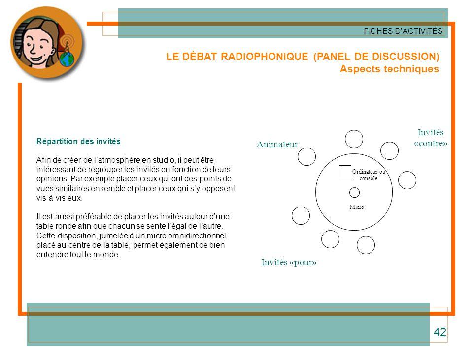 LE DÉBAT RADIOPHONIQUE (PANEL DE DISCUSSION) Aspects techniques FICHES DACTIVITÉS 42 Répartition des invités Afin de créer de latmosphère en studio, i