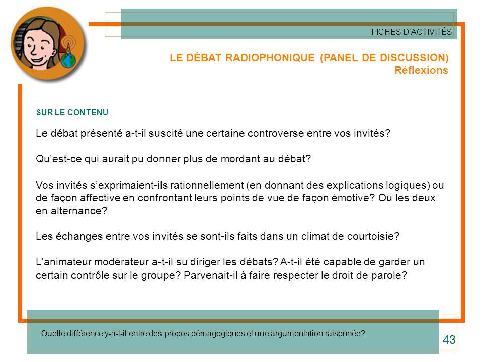 LE DÉBAT RADIOPHONIQUE (PANEL DE DISCUSSION) Réflexions SUR LE CONTENU Le débat présenté a-t-il suscité une certaine controverse entre vos invités? Qu