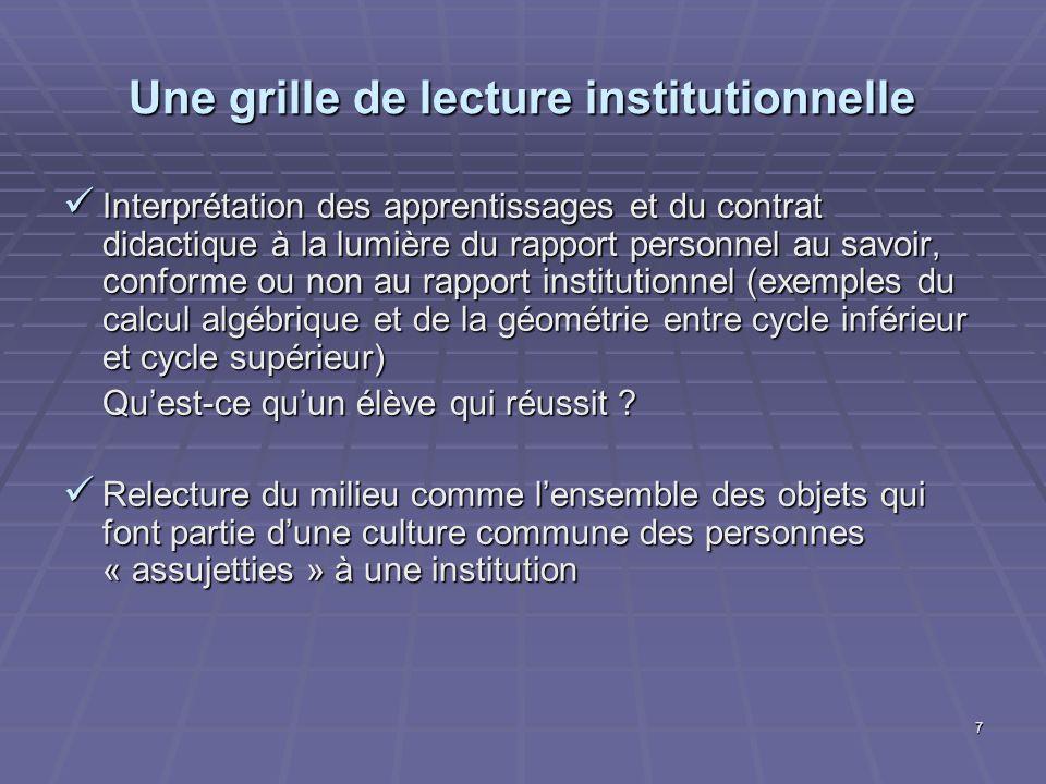 7 Une grille de lecture institutionnelle Interprétation des apprentissages et du contrat didactique à la lumière du rapport personnel au savoir, confo