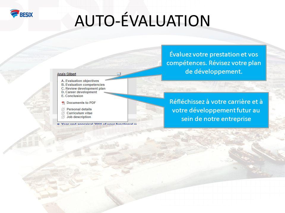 AUTO-ÉVALUATION SCORES POUR LES OBJECTIFS A Exceptionnel: réalise à la perfection tous les domaines de sa responsabilité et réalise tous les objectifs mieux que prévu.
