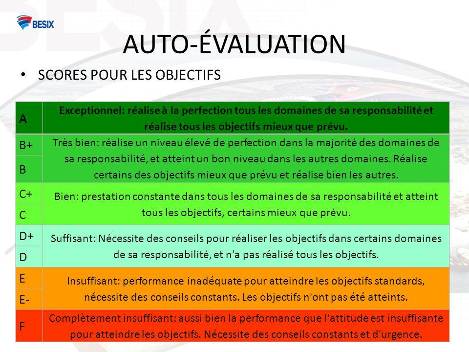 AUTO-ÉVALUATION Les scores pour les compétences Excellent Prouve que très souvent et durant une période prolongée, il/elle maîtrise et surpasse les Common Role Competencies.