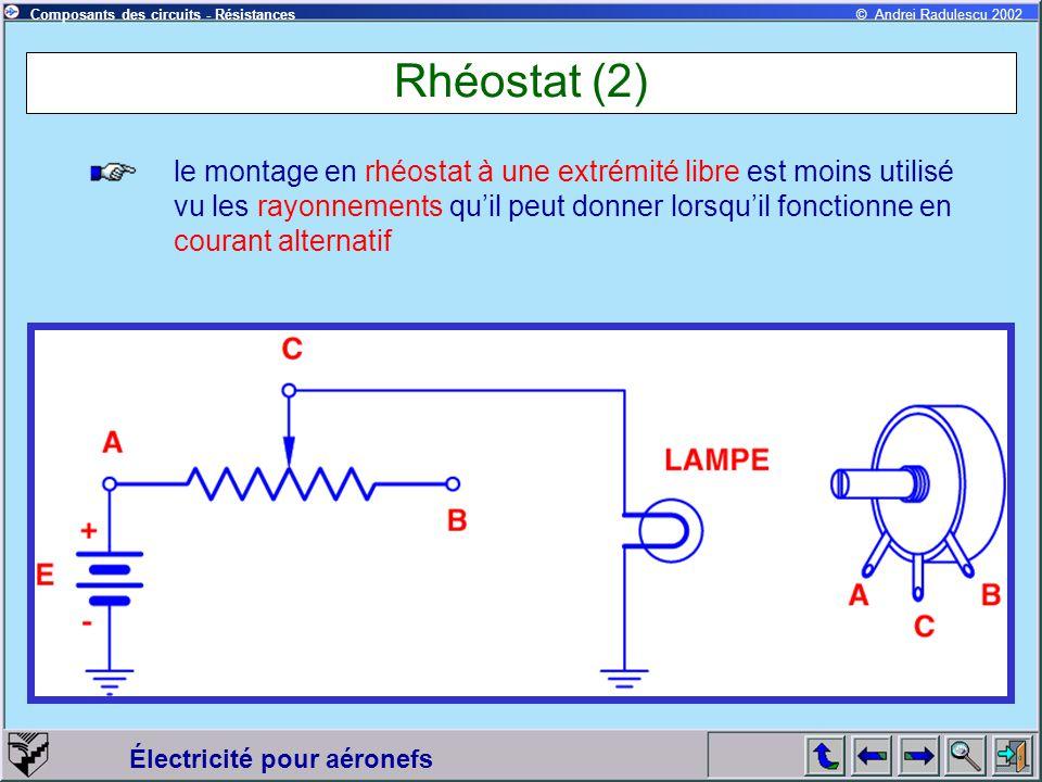 Électricité pour aéronefs © Andrei Radulescu 2002Composants des circuits - Résistances Rhéostat (2) le montage en rhéostat à une extrémité libre est m