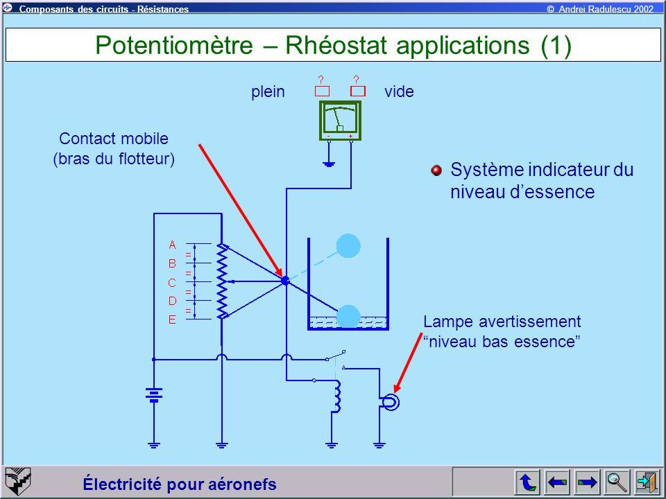 Électricité pour aéronefs © Andrei Radulescu 2002Composants des circuits - Résistances Potentiomètre – Rhéostat applications (1) pleinvide Contact mob