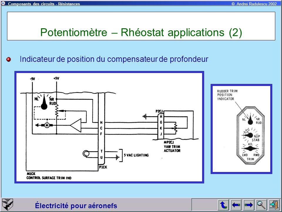 Électricité pour aéronefs © Andrei Radulescu 2002Composants des circuits - Résistances Potentiomètre – Rhéostat applications (2) Indicateur de positio