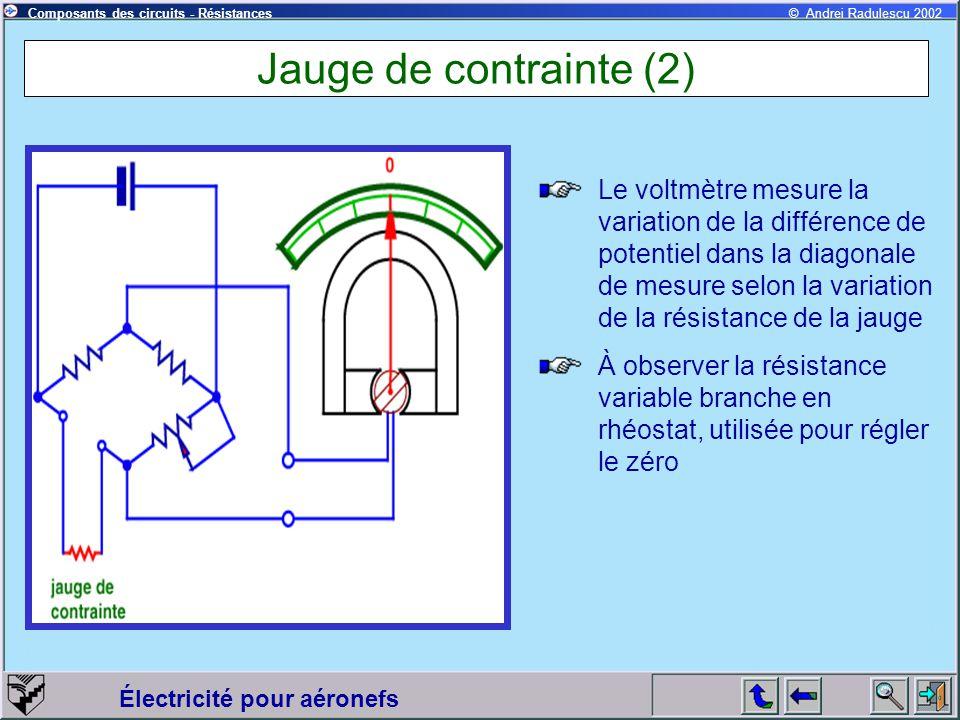 Électricité pour aéronefs © Andrei Radulescu 2002Composants des circuits - Résistances Jauge de contrainte (2) Le voltmètre mesure la variation de la