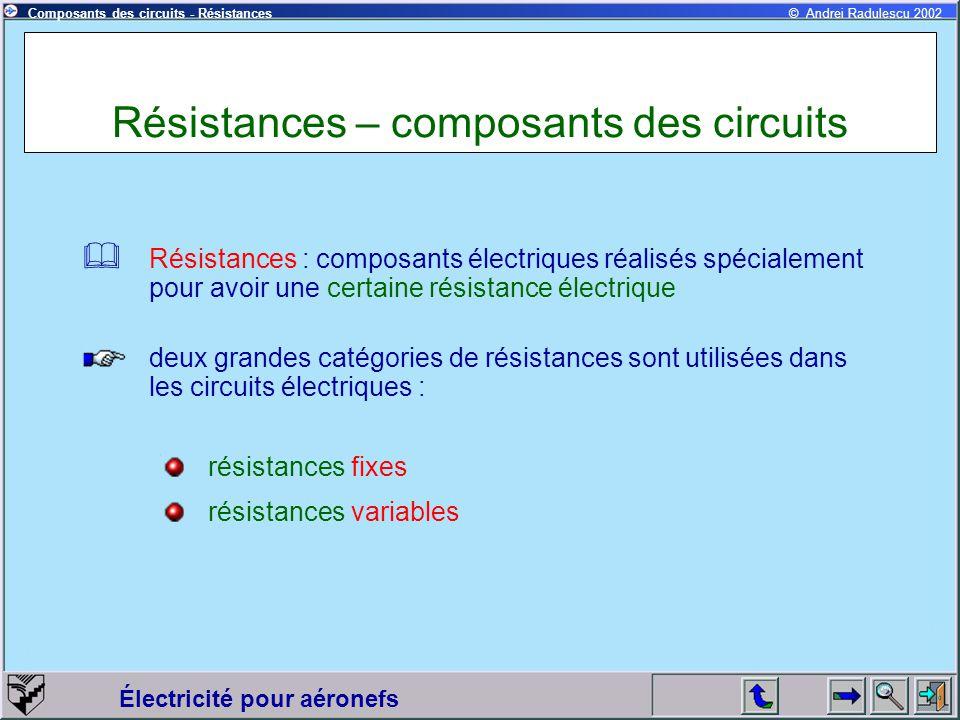 Électricité pour aéronefs © Andrei Radulescu 2002Composants des circuits - Résistances Résistances – composants des circuits Résistances : composants