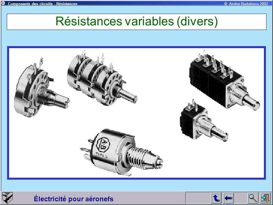 Électricité pour aéronefs © Andrei Radulescu 2002Composants des circuits - Résistances Résistances variables (divers)