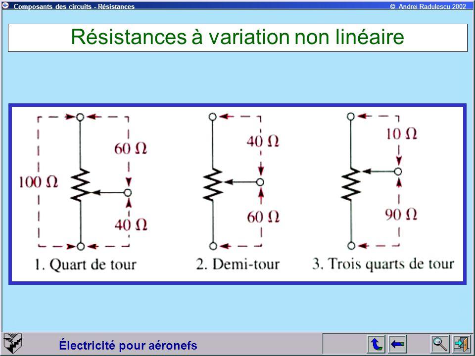 Électricité pour aéronefs © Andrei Radulescu 2002Composants des circuits - Résistances Résistances à variation non linéaire