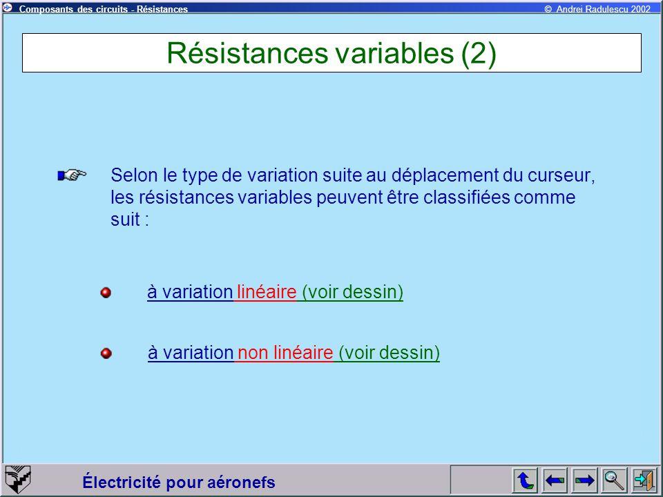 Électricité pour aéronefs © Andrei Radulescu 2002Composants des circuits - Résistances Résistances variables (2) Selon le type de variation suite au d
