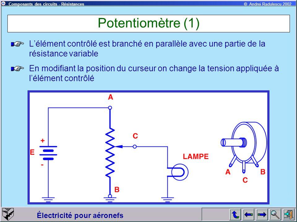 Électricité pour aéronefs © Andrei Radulescu 2002Composants des circuits - Résistances Potentiomètre (1) Lélément contrôlé est branché en parallèle av