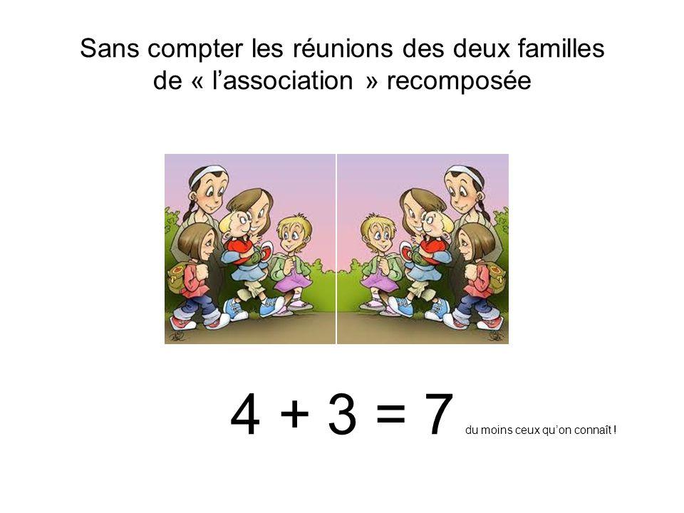 Sans compter les réunions des deux familles de « lassociation » recomposée 4 + 3 = 7 du moins ceux quon connaît !