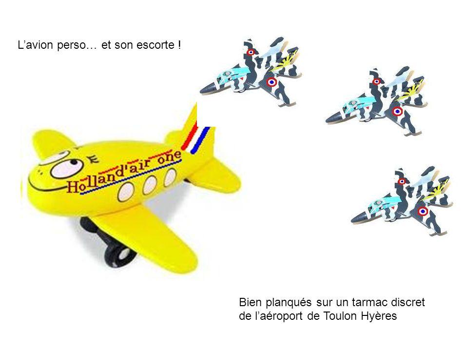 Lavion perso… et son escorte ! Bien planqués sur un tarmac discret de laéroport de Toulon Hyères