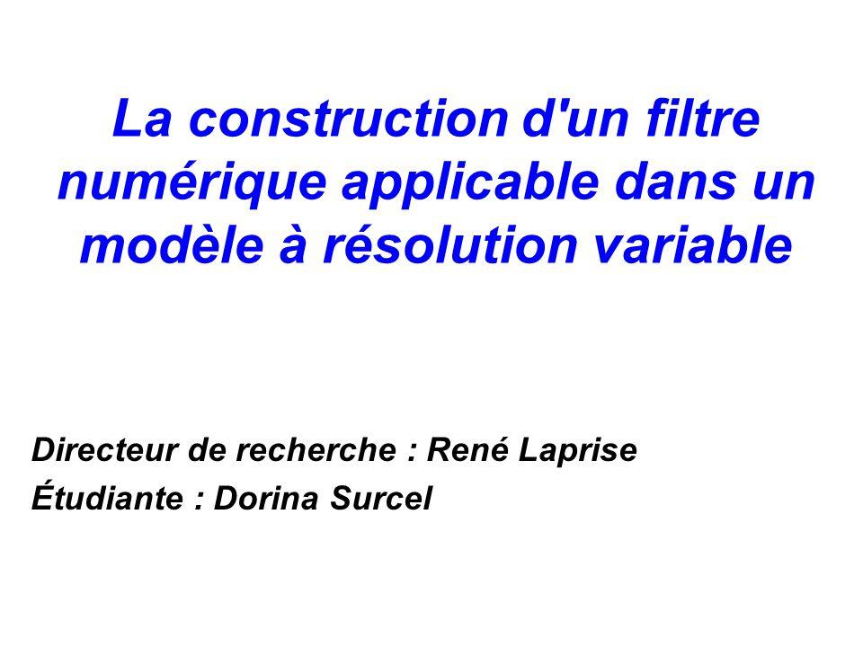 La construction d'un filtre numérique applicable dans un modèle à résolution variable Directeur de recherche : René Laprise Étudiante : Dorina Surcel